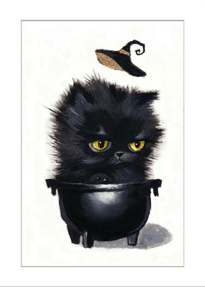 Котелок Кот, Котомафия, Черный кот, Котел, Ведьмы, Арт, Рисунок