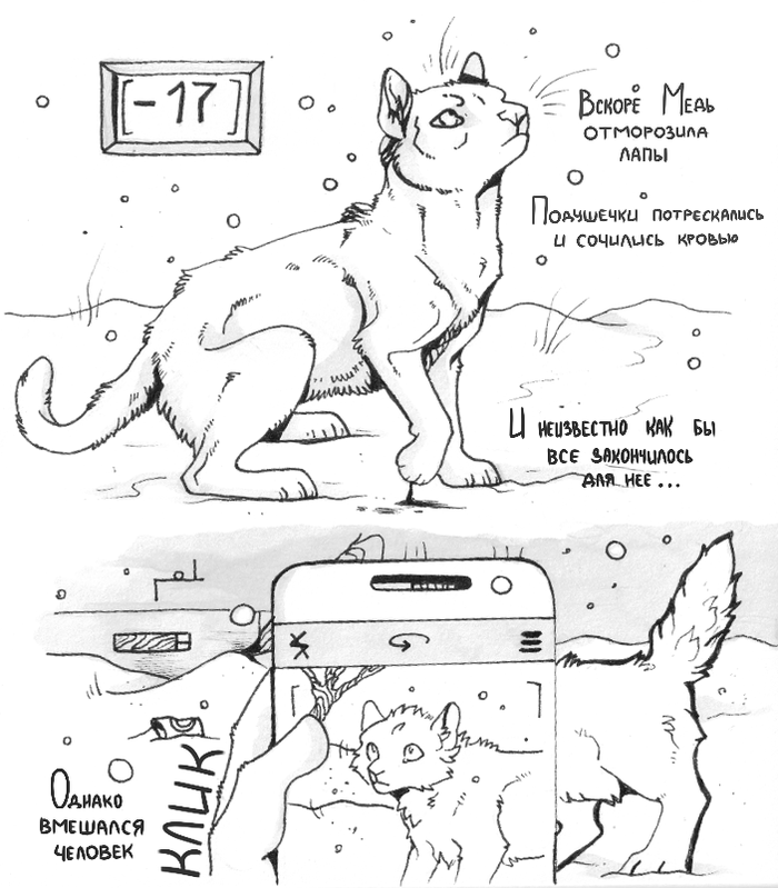 Про Медею (часть 2) Кот, Бездомные животные, Комиксы, Спиртовые маркеры, Рисунок на бумаге, Длиннопост
