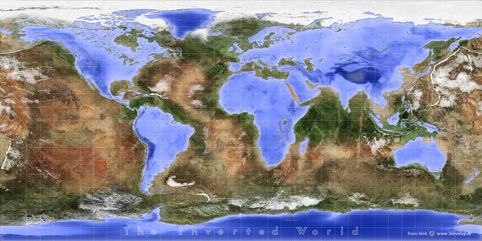 Как бы выглядела физическая карта мира если бы вода и суша поменялись местами