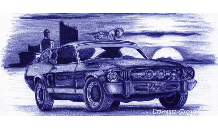Shelby Mustang GT500 (1967) Рисунок, Графика, Шариковая ручка, Shelby gt500, Машина, Творчество, Рисунок ручкой, Авто