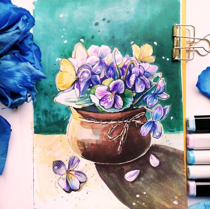 Фиалки Фиалки, Цветы, Цветочный горшок, Спиртовые маркеры, Линер, Скетч, Скетчбук, Рисунок