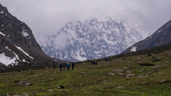 Кыргызстан, ущелье Туюк, озеро Кок-Мойнок Фотография, Горы, Ущелье, Озеро, Снег, Цветы, Длиннопост, Пейзаж