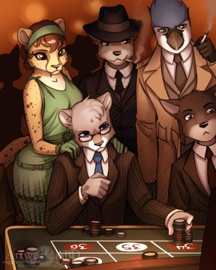 В казино Фурри, Furry Art, Арт, Abluedeer