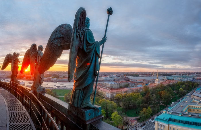 Петербург с баллюстрады Исаакиевского собора Санкт-Петербург, 9 мая, Фотография, Исаакиевский собор, Длиннопост