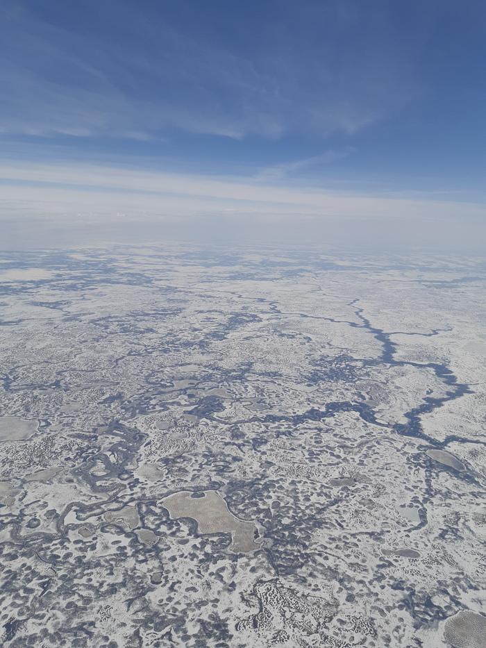 Вид на тундру из самолета Тундра, Нао, Нарьян-Мар, Длиннопост