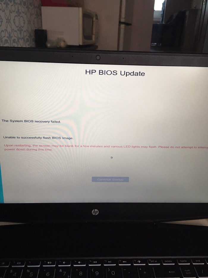 System BIOS Recovery failed HP