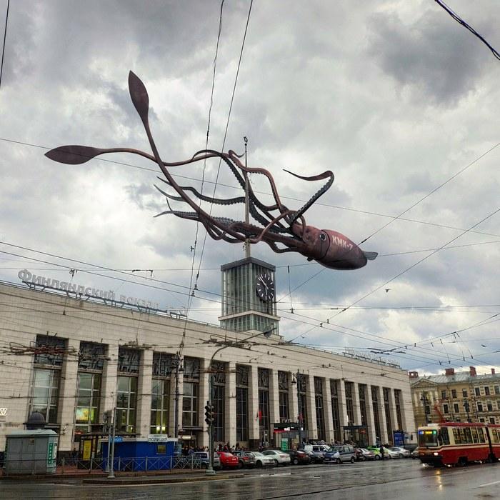 «Бестиарий Петербурга» #4 – киберкальмар Бестиарий Петербурга, Кальмар, Финляндский вокзал, Длиннопост