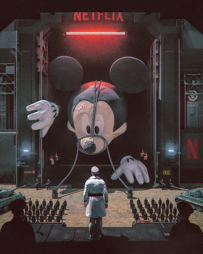 Секретное оружие Арт, Рисунок, Микки Маус, Walt Disney Company, Beeple, Netflix, Компьютерная графика