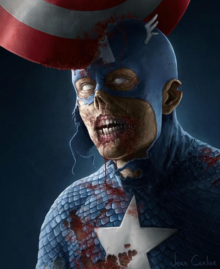 Иллюстратор: Jean Carlier. Зомби, Marvel, Вампиры, DC, Капитан Америка, Росомаха, Человек-Паук, Длиннопост, Бэтмен
