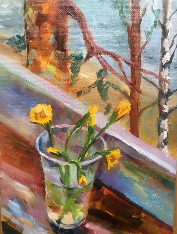 Весна Живопись, Холст, Весна, Мать-и-Мачеха, Цветы, Картина, Картина маслом, Этюд
