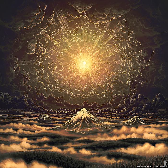 Remission Арт, Горы, Облака, Солнце, Ascending-Storm