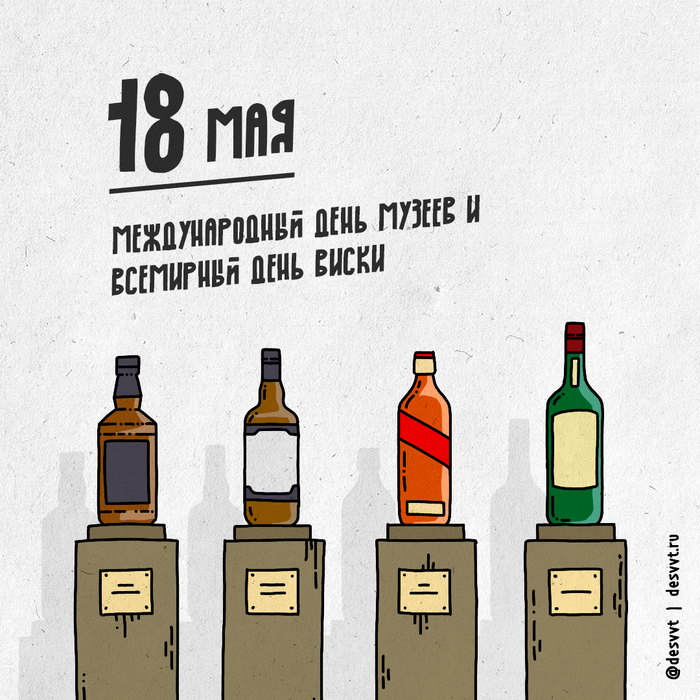 (170/366) 18 мая день виски и день музеев Проекткалендарь2, Рисунок, Иллюстрации, Виски, Музеи Москвы, Повод выпить