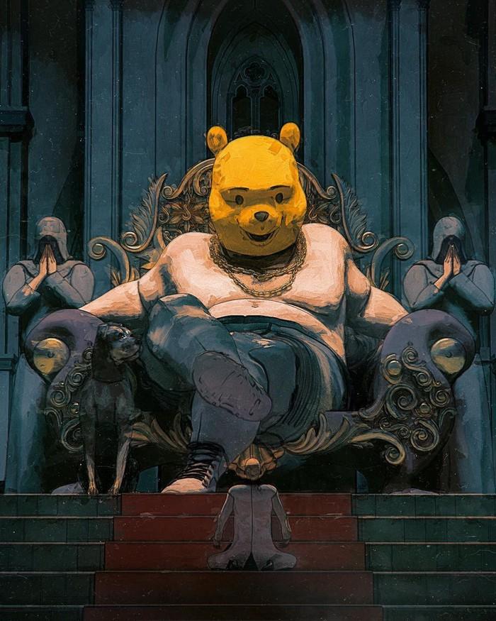 Медведь пришел Арт, Рисунок, Винни-Пух, Beeple, Подборка, Длиннопост
