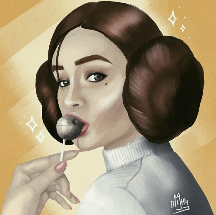 Принцесса Лея Принцесса Лея, Арт, Портрет, Рисунок, Цифровой рисунок, Девушки, Косплей, Star Wars