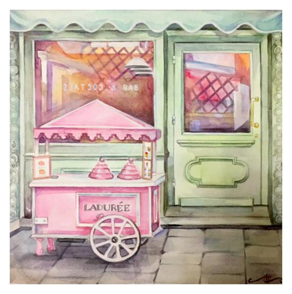 Летнее кафе (Акварель/Карандаши акварельные) Рисунок, Смешанная техника, Акварель, Акварельные карандаши, Okta23, Кафе