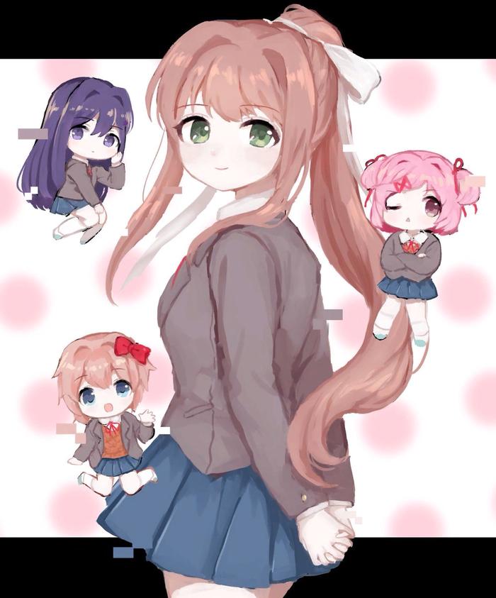 Monika and chibi club Doki Doki Literature Club, Sayori, Natsuki, Yuri DDLC, Monika, Anime Art, Визуальная новелла, Chibi