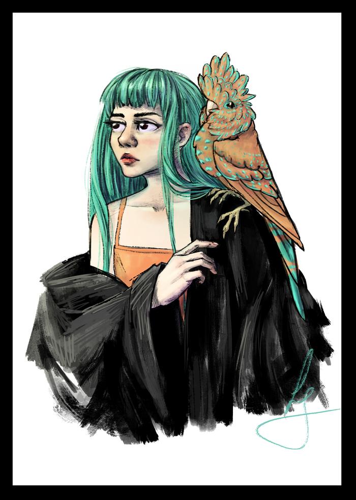 Дама и пекпек Рисунок, Арт, Попугай