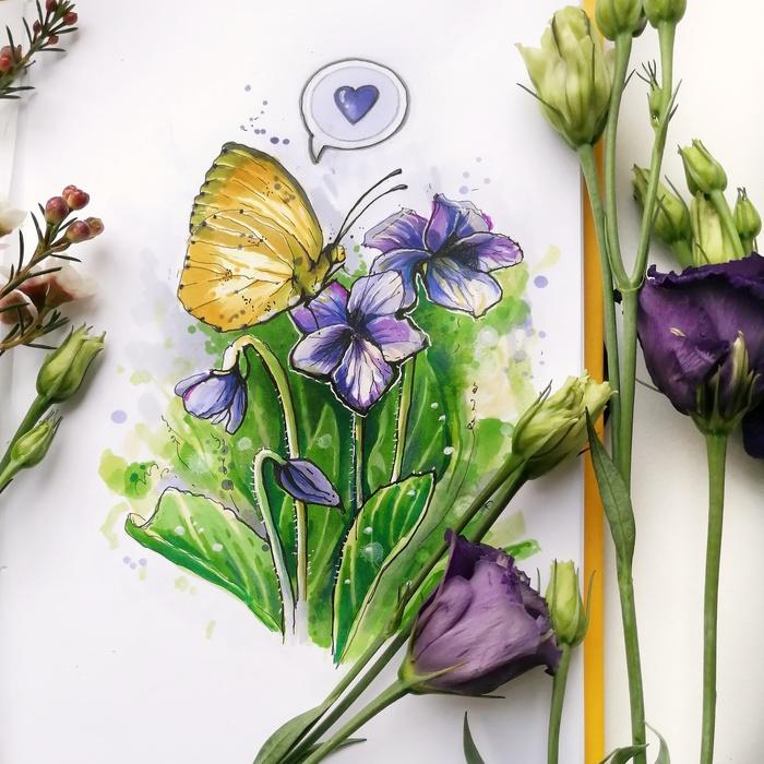 Бабочка Бабочка, Цветы, Спиртовые маркеры, Линер, Рисунок, Скетч, Скетчбук, Насекомые