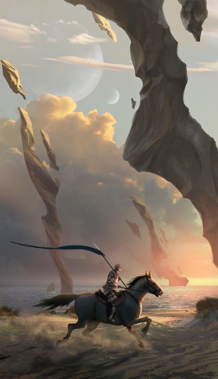 Celestial Spears Арт, Рыцарь, Рыцарь на коне, Всадник, Лошади, Пляж, Фэнтези, Joseochoaart