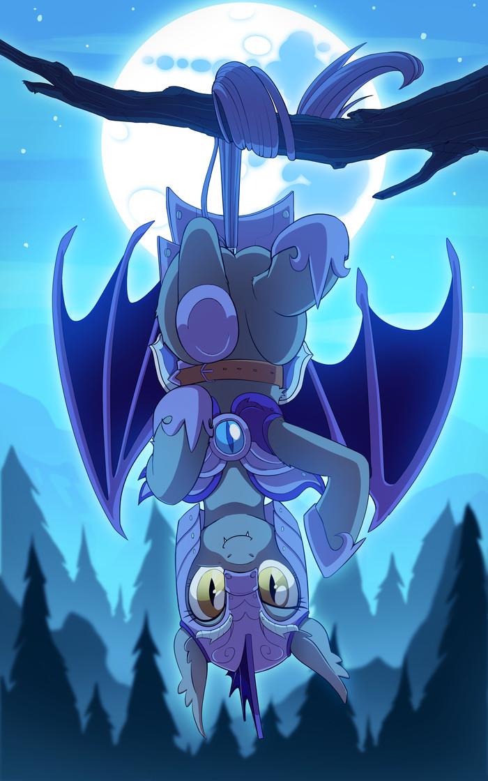 Night Guardian My Little Pony, Royal lunar Guard, Batpony, Повисла, На дереве, Коллаб, Redchetgreen, Jedayskayvoker