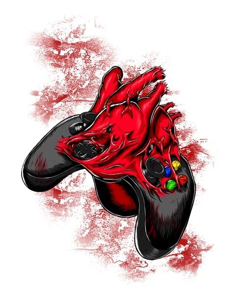 Gamer's Heart Сердце, Арт, Геймпад, SAI, Планшет, Геймеры