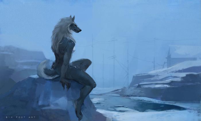 Tranquil Winter Фурри, Furry Art, Furry Canine, Furry wolf, Furry edge, Зима, Sixfoot