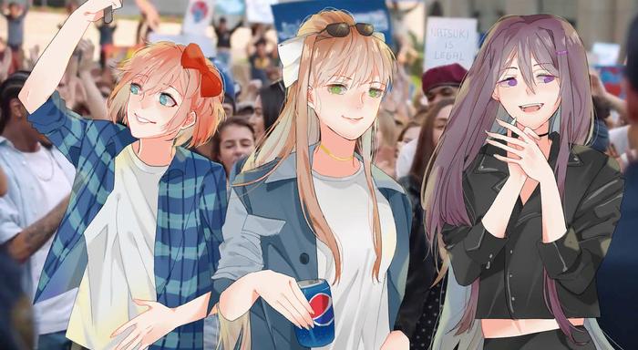 Pepsi club Doki Doki Literature Club, Sayori, Natsuki, Yuri DDLC, Monika, Anime Art, Визуальная новелла