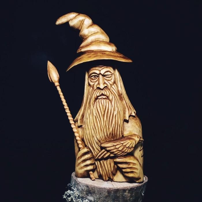 Скандинавский бог ОДИН, Материалы липа, ольха. Высота 18см. Резьба по дереву, Скандинавская мифология, Один, Длиннопост