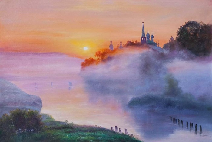 Туманным утром на рассвете Туман, Утро, Река, Церковь, Лето, Картина, Живопись, Искусство