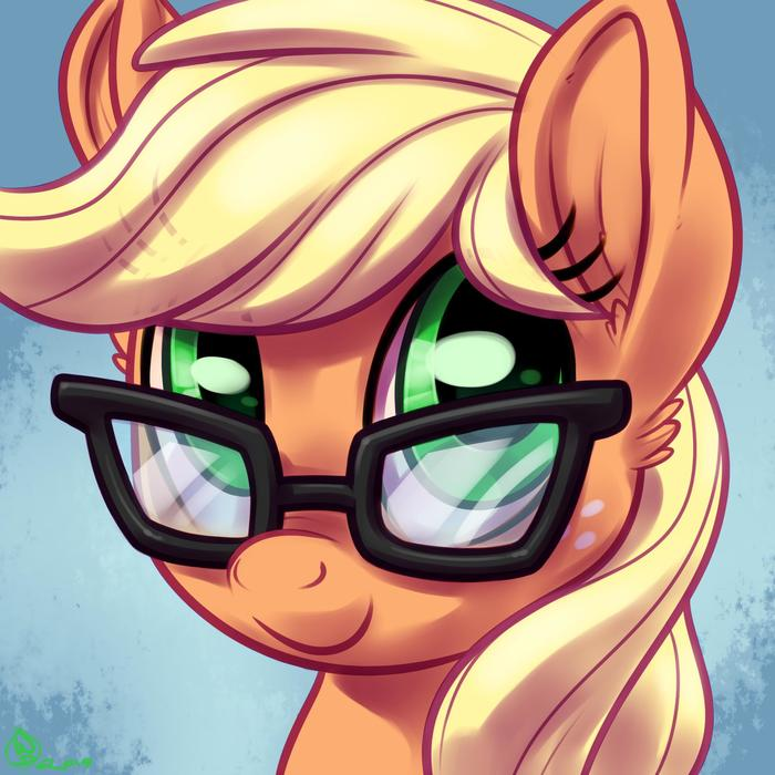 Жока без шляпы, но с очками. My Little Pony, Ponyart, Applejack, White Diamonds