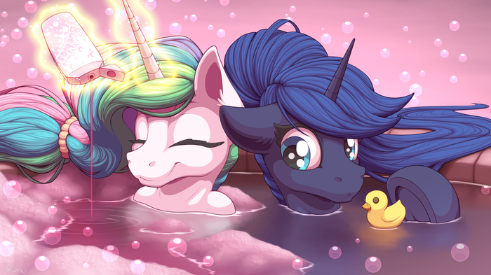 Royal Bath My Little Pony, Ponyart, Princess Celestia, Princess Luna, Ohemo