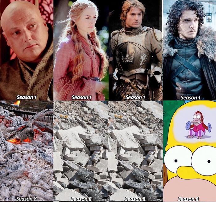 Первый сезон и восьмой сезон. Кто изменился сильнее? Уточнение. Спойлер, Игра престолов, Герои, Черный юмор, Photoshop, Изменения