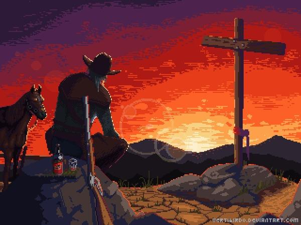 Виски и закат Pixel Art, Дикий Запад, Арт, Гифка, Coub