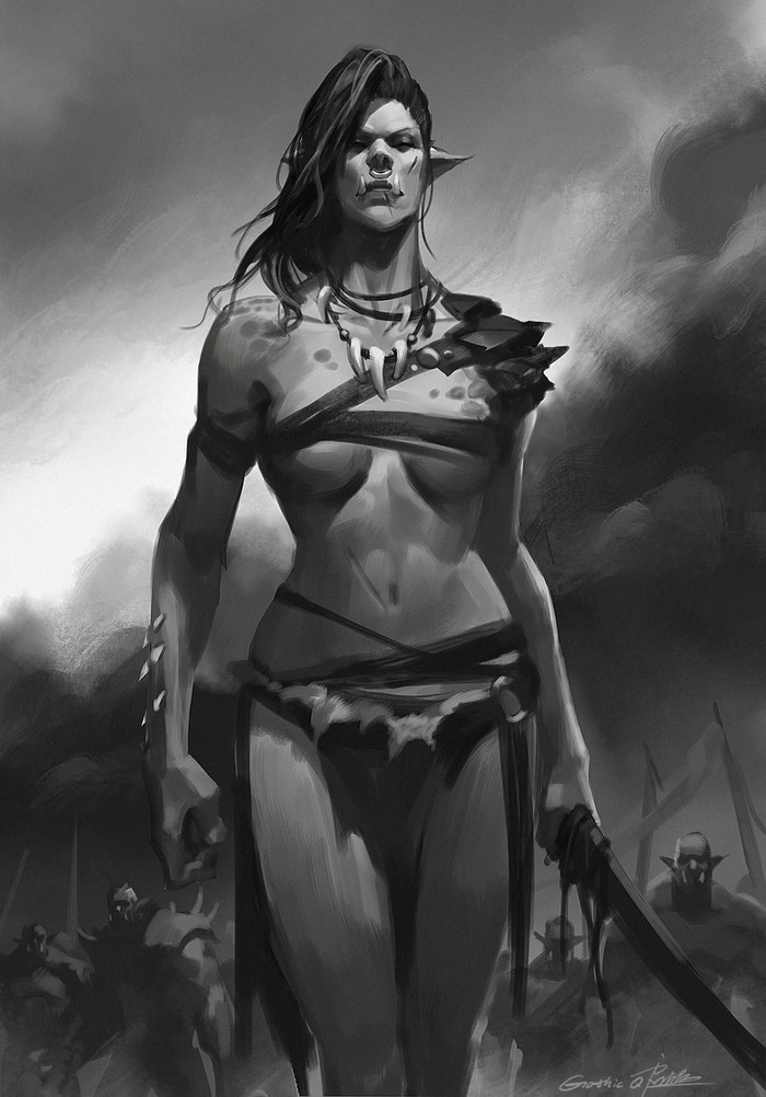 Orc lady. Арт, Орки, World of Warcraft, WOW, Девушки, Qichao Wang