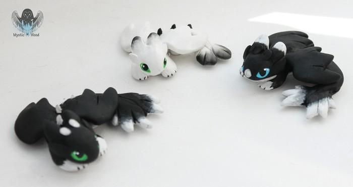 Furry Family Дракон, Как приручить дракона, Ночная фурия, Рукоделие без процесса, Ручная работа, Полимерная глина, Длиннопост