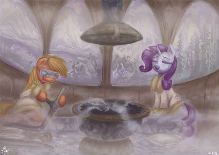 Fixing up Steam My Little Pony, Applejack, Rarity, Сауна, MLP Season 6, 10 серия, 10-я серия, Jowybean