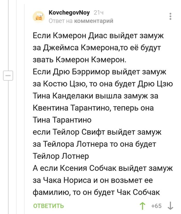Чак Собчак Необычные фамилии, Комментарии на Пикабу, Скриншот