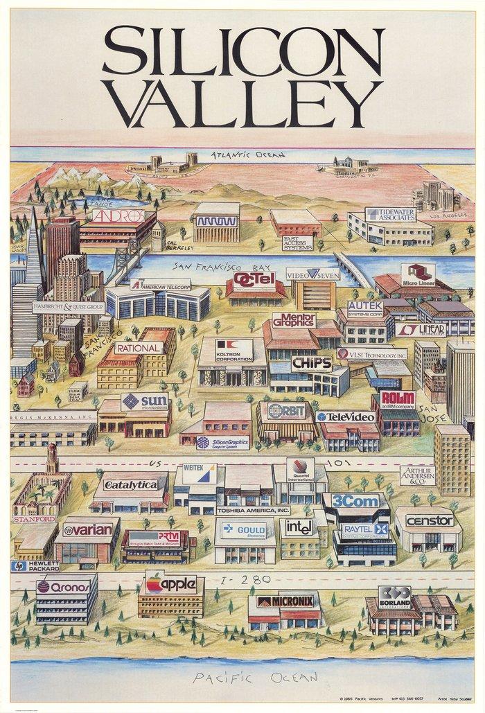 Кремниевая Долина в 1986 г. Иллюстрации, Карты, Кремниевая Долина, Калифорния, США, Постер, Исторические карты, Технологии