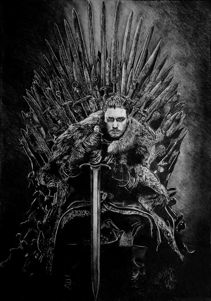 Король Игра престолов, Арт, Рисунок, Джон Сноу, Длиннопост, Железный трон, Сериалы, Рисунок карандашом, Этапы