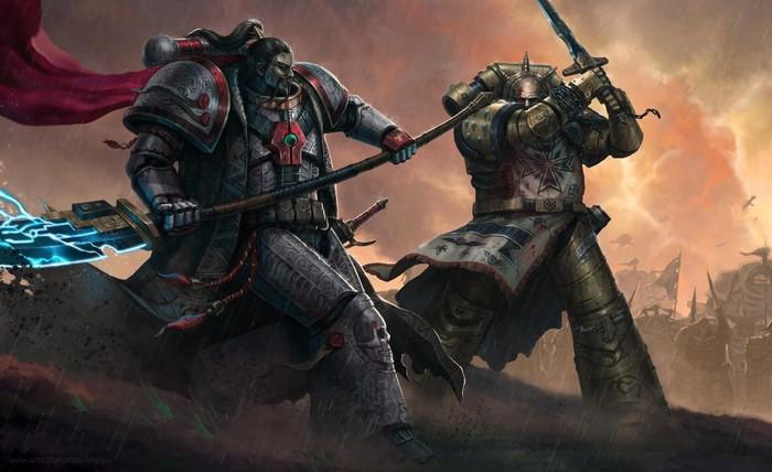 Sigismund vs Jubal Khan Warhammer 40k, Wh Art, White Scars, Imperial Fists