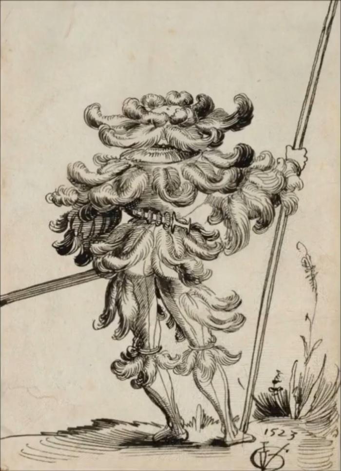 Швейцарский наёмник, вид сзади История, Прошлое, Понты, 16 век, Швейцария, Мода, Мода что ты делаешь, Гравюра