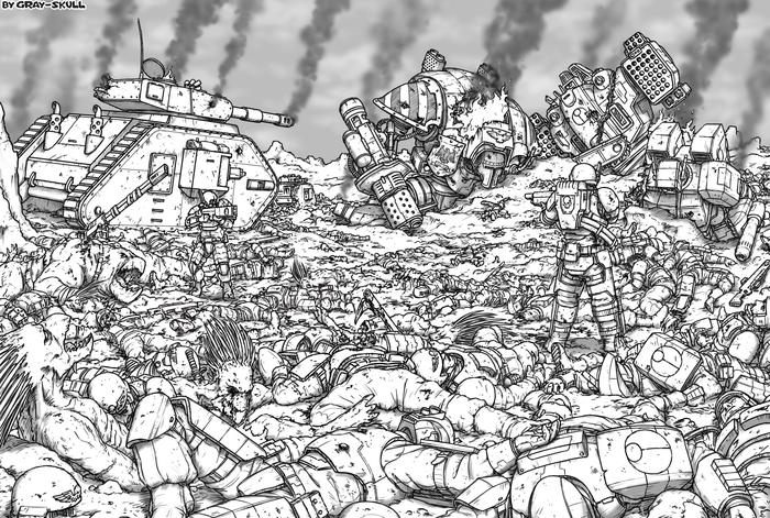 """""""Наш мир был рожден в войне. В войне он и умрет."""" (by Gray-Skull) Warhammer 40k, Astra Militarum, Имперская гвардия, Tau, Битва, Арт, Картинки, Gray-Skull"""