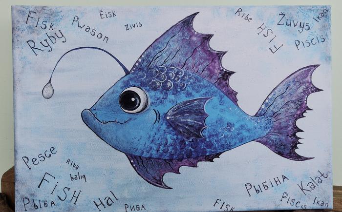 Рыбина на холсте Пятничный тег моё, Рисунок, Картина, Рыба, Панно, Творчество, Рукоделие без процесса