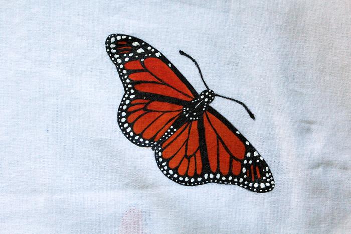 Бабочки акрилом на ткани. Бабочка, Акрил, Роспись, Роспись по ткани, Видео, Насекомые, Процесс рисования