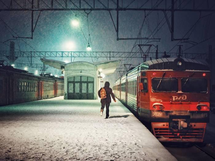 Последняя электричка Фотография, Поезд, Зима, Ночь, Olympus, Streetphoto