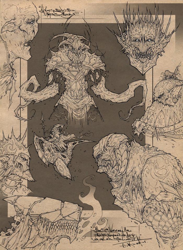 Sketches_Pack_I Kilmetov_art, Рисунок, Графика, Фэнтези, Персонажи, Скетч, Длиннопост, Концепт-Арт, Lineart