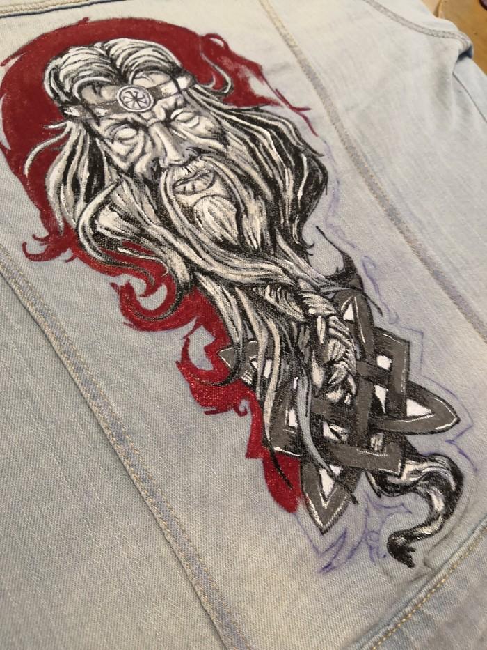 Велес для заказчицы из Мурманска  готов !курточка попутешествует! Роспись по ткани, Творчество, Длиннопост