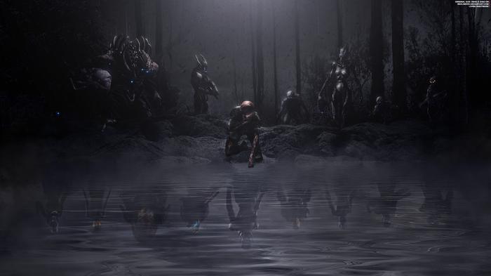 """""""Живой Кошмар"""" - Mass Effect 4K Mass Effect, Шепард, Тали'зора, Урднот Рекс, Гаррус, Джеймс Вега, Лиара, Жнецы"""