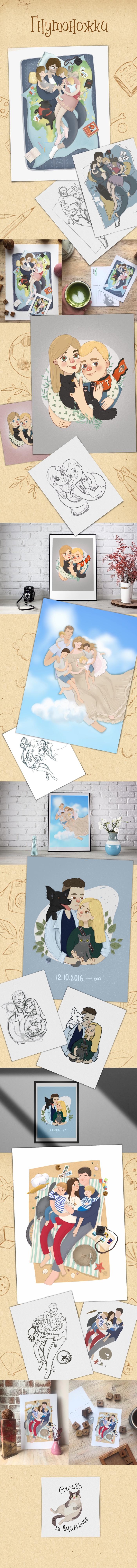 Гнутоножки Рисунок, Цифровой рисунок, Семья, Портрет, Любовь, Пара, Длиннопост, Стилизация, Кот