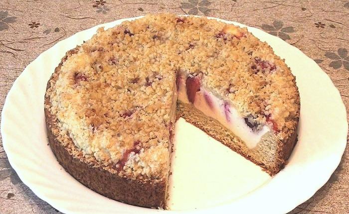 Творожно-ягодный пирог с сахарно-кокосовой корочкой Кулинария, Видео, Рецепт, Пирог, Ягодный пирог, Длиннопост, Пирог с творогом